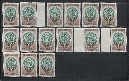 Canada #395 5c Brown and Deep Emerald 1961 Resources for Tomorrow Issue, Specialized Lot of 15 Stamps, Covering a Range of Papers, Perforations, and Gums, All VFNH