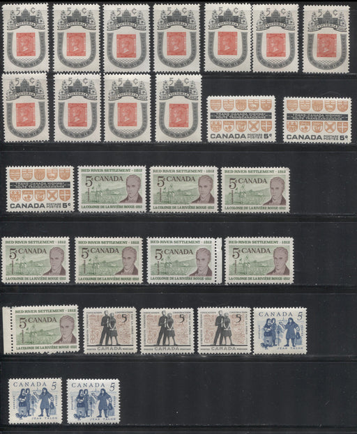 Canada #396-400 1962 Commemoratives, A Super-Specialized Lot of 28 Selected VFNH Stamps - Different Perfs, Papers and Gum Types