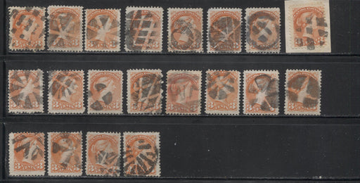 Canada #37 3c Orange Red 1870-1897 Small Queen Issue, Cancel Lot Consisting of 20 Examples With Different Fancy Cancels