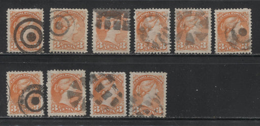 Canada #37 3c Orange Red 1870-1897 Small Queen Issue, Cancel Lot Consisting of 10 Examples With Different Fancy Cancels