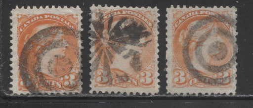 Canada #37iii 3c Orange Red 1870-1897 Small Queen Issue, Cancel Lot Consisting of 3 Perf. 11.75 x 12 Examples With Different Fancy Cancels