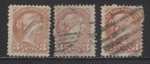 Canada #37a-b 3c Rose and Indian Red 1870-1897 Small Queen Issue, 3 Fine Used First Ottawa Printings, Each A Different Shade