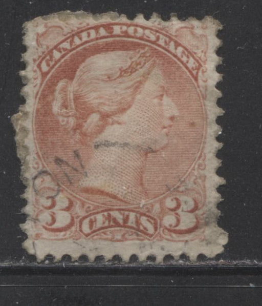 Canada #37a 3c Rose Small Queen A Fine Used Example of the First Ottawa Printing, Perf. 11.9 x 12