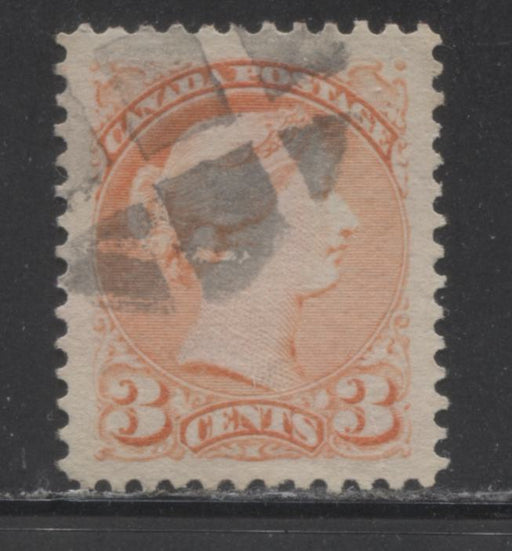 Canada #41 3c Vermilion Small Queen A VF Jumbo Used Example of the Second Ottawa Printing
