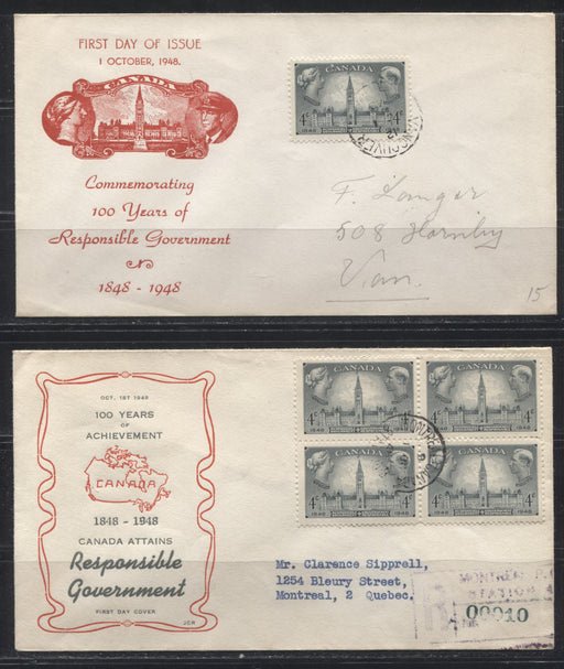 1948 Responsible Government Issue - 3 First Day Covers With Different Cachets