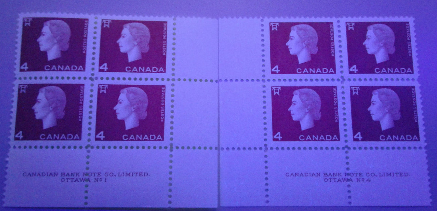 Canada #404ii 4c Deep Red Queen Elizabeth II, 1962-1967 Cameo Issue, a VFNH Plate 1 & 4 Inscription Pairs on Low Fluorescent Paper
