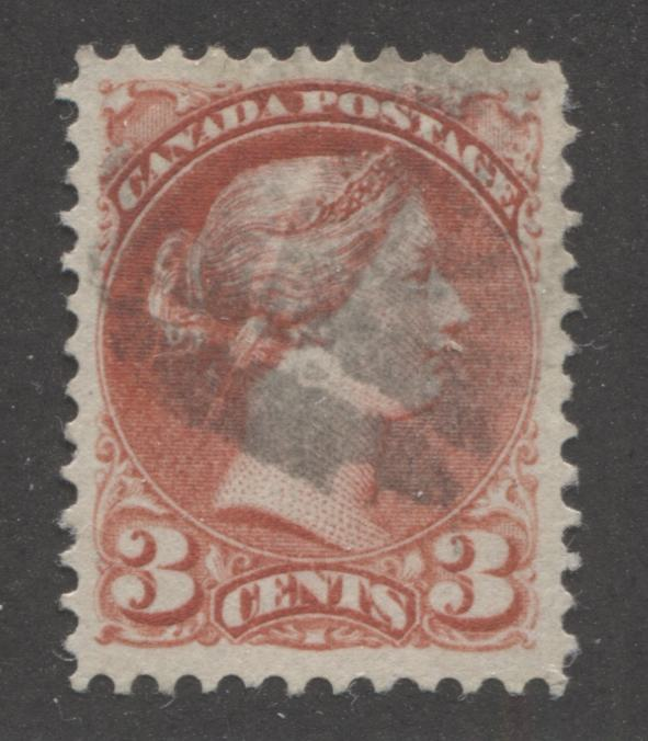 Canada #41i 3c Deep Rose Carmine Queen Victoria, 1870-1897 Small Queen Issue, A Very Fine Used Example of the Montreal Gazette Printing From Autumn 1888