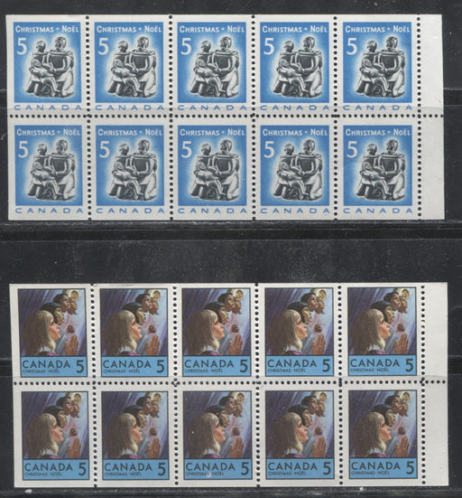 Canada #488a, 502a 5c Bright Blue and Black & 5c Multicoloured 1968-1969 Christmas Issue Booklet Panes of 10 Showing the Selvedge on the Right VFNH