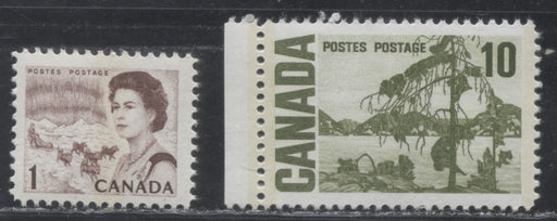 Canada #454pii and 462pii 1c Brown & 10c Olive Green 1967-1973 Centennial Issue, VFNH Examples of The Two Key 1c and 10c Stamps - Both on HB Paper