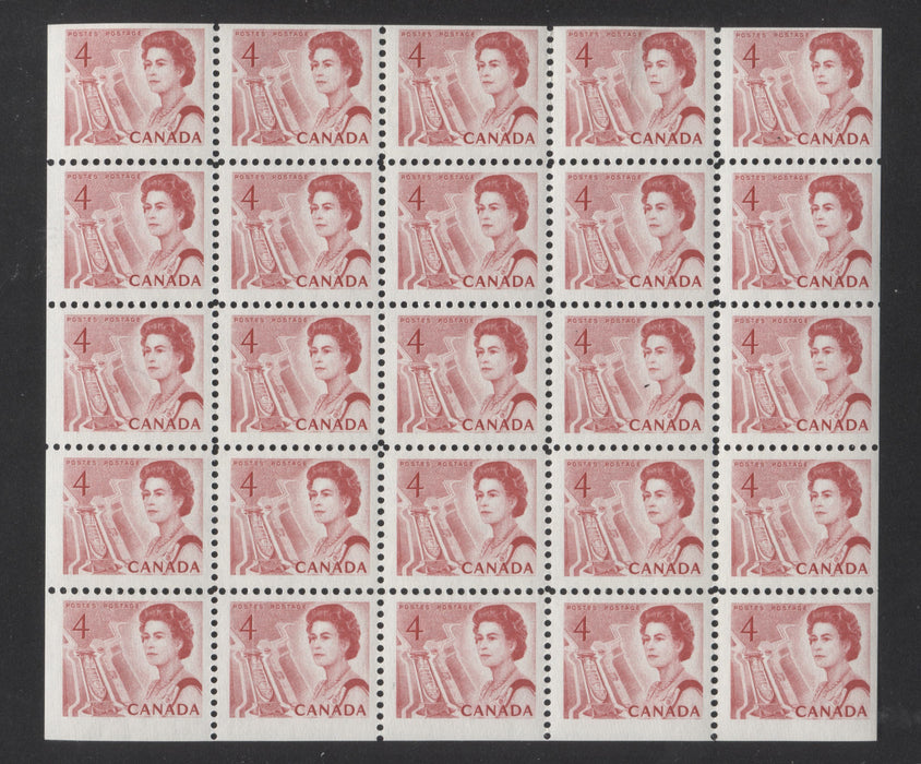 Canada #457bi 1967 4c Carmine Red Centennial Issue, a Fine NH Cello-Paq Pane of 25 on the Scarce NF Paper