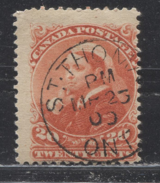 Canada #46 (SG#115) 20c Vermilion Widow's Weeds on Soft Horizontal Wove Paper VG CDS Used Example