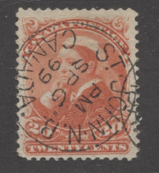 Canada #46 (SG#115) 20c Vermilion Widow's Weeds on Soft Horizontal Wove Paper Very Fine Appearing, But Very Good Used Example