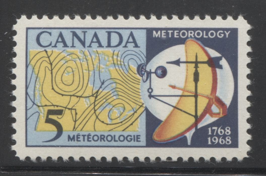 "Canada #479ii 5c Multicoloured 1968 Meteorology Issue, a VFNH Example of the ""Red Over Blue"" Variety on Hibrite Paper"