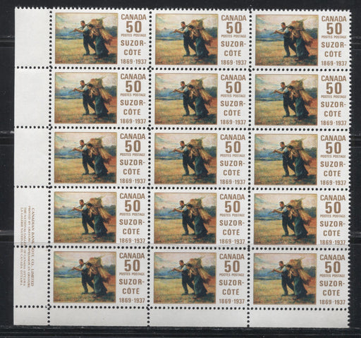 "Canada #492i,ii 50c Multicoloured 1969 Suzor-Cote Issue HB Paper, A VFNH Lower Left Block of 15 Showing Multiple Varieties, Including the ""Line at Knee"", the ""Bird in Sky"" and Others"
