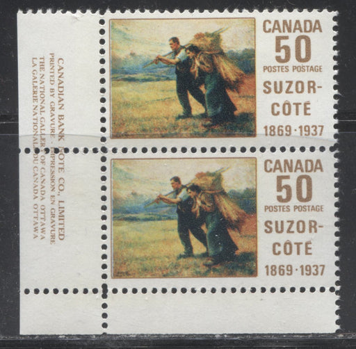 "Canada #492i 50c Multicoloured 1969 Suzor-Cote Issue HB Paper, A FNH Lower Left Pair Showing the ""Line at Knee"" Variety From Position 41"