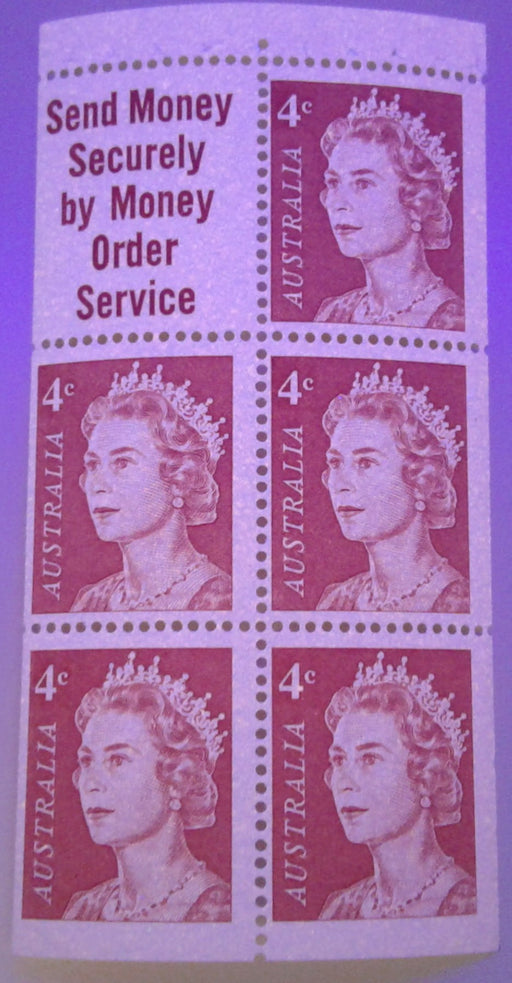 Australia #397a (SG#385a) 4c Orange Red Queen Elizabeth II 1966-1973 Decimal Definitive Issue, a Fine NH Booklet Pane of 5 + Label, Printed on Helecon Paper