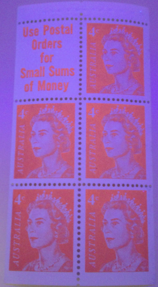 Australia #397a (SG#385a) 4c Orange Red Queen Elizabeth II 1966-1973 Decimal Definitive Issue, a Very Fine NH Booklet Pane of 5 + Label, Printed on Dead Paper in Helecon Ink