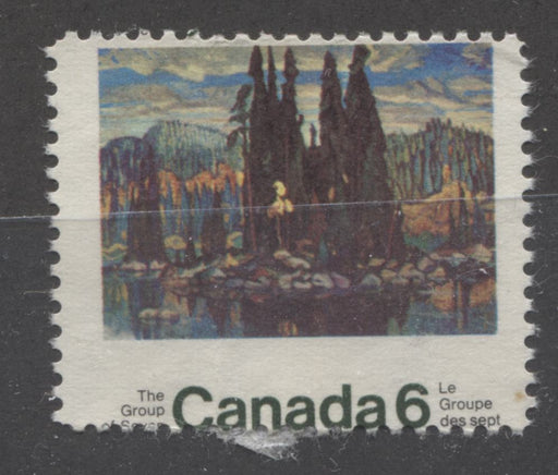 Canada #518 (SG#660) 6c Multicolored 1970 Group Of Seven Issue HF Paper a VG Unused Example With Dramatic Misperf