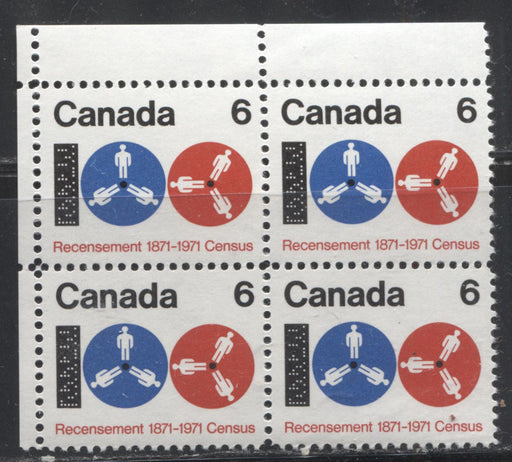 "Canada #542 (SG#683) 6c Black, Ultramarine and Red 1971 Centenary of the Census Issue, a VFNH UL Field Stock Block on HB Paper Showing a ""White Thread on Spool"" From Position 1"