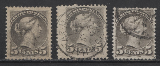 Canada #42 5c Grey 1870-1897 Small Queen Issue, 3 Very  Fine Used Second Ottawa Printings, Various Shades, and Perfs.