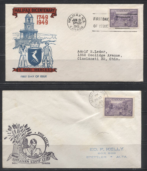 1949 Halifax Bicentennial Issue - Four FDC's and One Stamp Club Cover