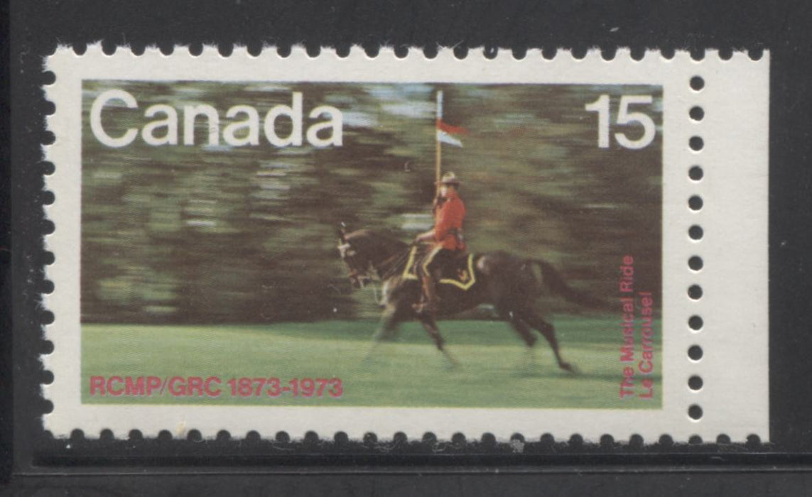 Canada #614T1 15c Multicoloured, Musical Ride, 1973 RCMP Centenary Issue, a VFNH Example Showing the Tagging Omitted