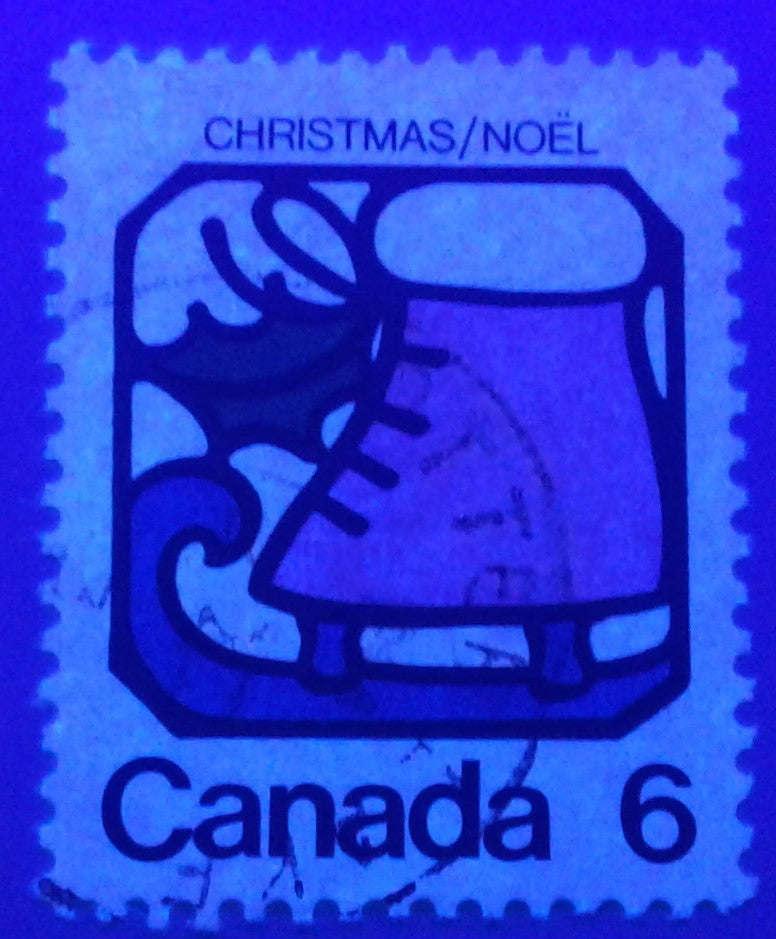 Canada #625 G1aL 6c Multicoloured, Ice Skate, 1973 Christmas Issue, a Very Fine Used Single, on MF/HF Paper Showing The Tagging Completely Omitted