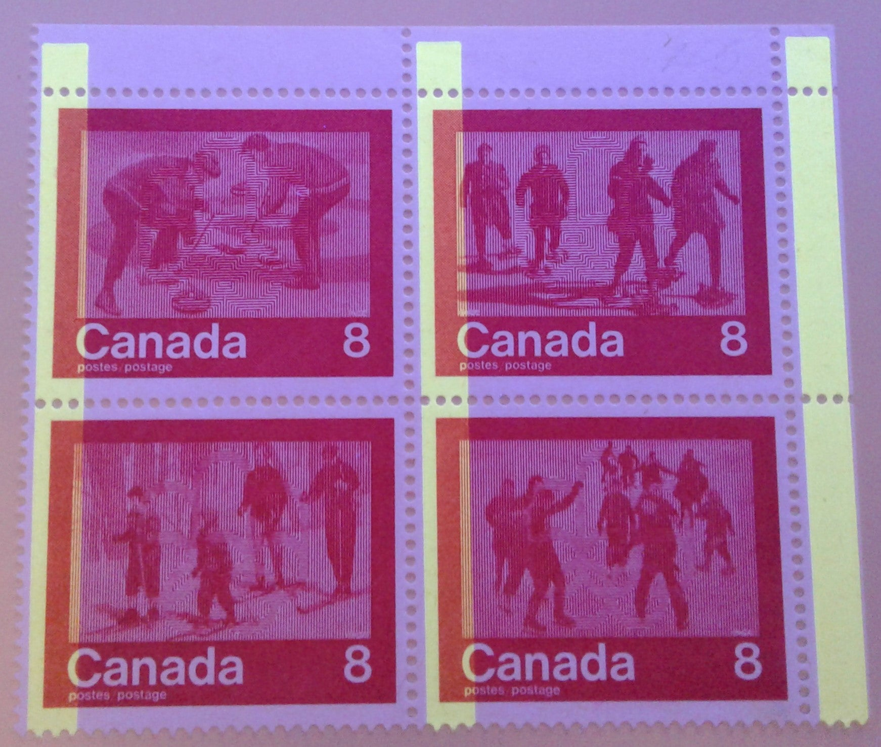 Canada #647a, 8c Red Winter Sports, 1974 Olympics Issue, a Fine NH UR Field Stock Block Showing 1-Bar Tagging Error