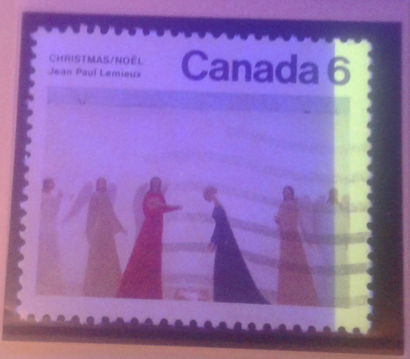 Canada #650 G1aR 6c Multicoloured, Nativity, 1974 Christmas Issue, a VF Used Single, on Fluorescent Paper Showing 1-Bar Tag Error