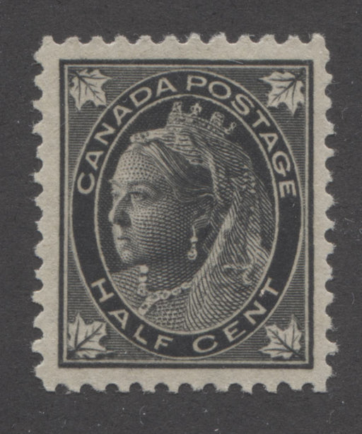 Canada #66 1/2c Black Queen Victoria, 1897-1898 Maple Leaf Issue, A Very Fine Mint OG Example on Vertical Wove, With Re-Entries in Leaves