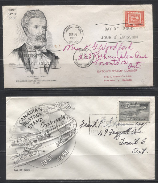 1951 CAPEX Issue - A Complete Set of Artcraft FDC's Plus 2 Additional Cachets - 6 Covers in Total