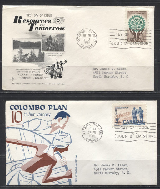 1958 & 1961 Commemorative Issues - 6 First Day Covers Franked With Singles, Various Cachets