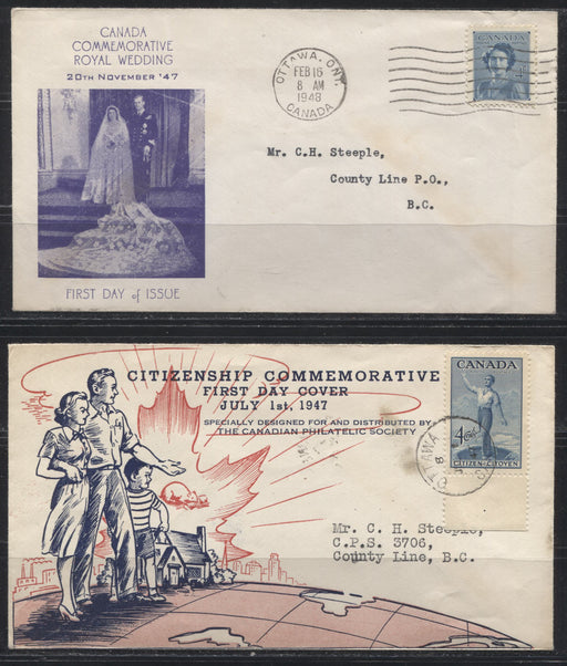 1947 Alexander Graham Bell & 1948 Royal Wedding Issues - 5 First Day Covers and One Stamp Club Cover