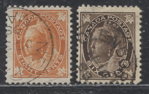 Canada #71, 72 6c Deep Brown & 8c Orange Queen Victoria, 1897-1898 Maple Leaf Issue, Fine CDS Used Examples