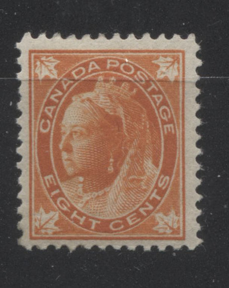 Canada #72 8c Orange Queen Victoria, 1897-1898 Maple Leaf Issue, A Very Fine CDS Used Example on Vertical Wove