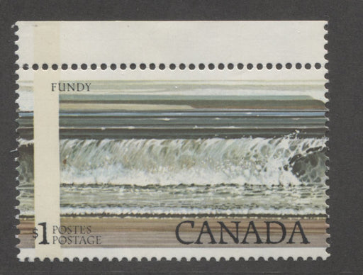 Canada #726T2  $1 Multicoloured Fundy National Park 1977-1982 Floral and Environment Issue, A VFNH Single Showing G2aC 1-Bar Tagging Error Resulting From a Perf Shift, Catalogues $125 in Adminware