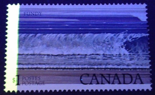 Canada #726T1  $1 Multicoloured Fundy National Park 1977-1982 Floral and Environment Issue, A VFNH Single Showing G2aL 1-Bar Tagging Error Resulting From a Perf Shift, Catalogues $125 in Adminware