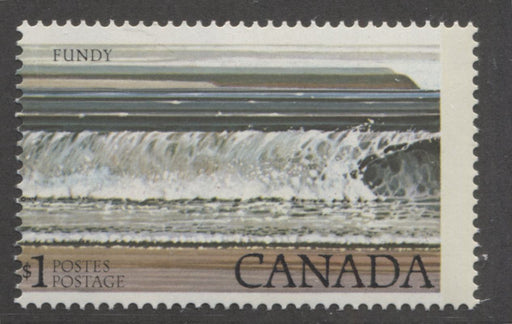Canada #726T3  $1 Multicoloured Fundy National Park 1977-1982 Floral and Environment Issue, A VFNH Single Showing G2aR 1-Bar Tagging Error Resulting From a Perf Shift, Catalogues $100 in Adminware