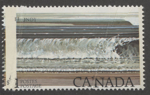 Canada #726T4  $1 Multicoloured Fundy National Park 1977-1982 Floral and Environment Issue, A VFNH Single Showing Gaps in The Inscription Printing and Tagging Shift Due to Double Pre-Print Crease, Catalogues $400 in Adminware