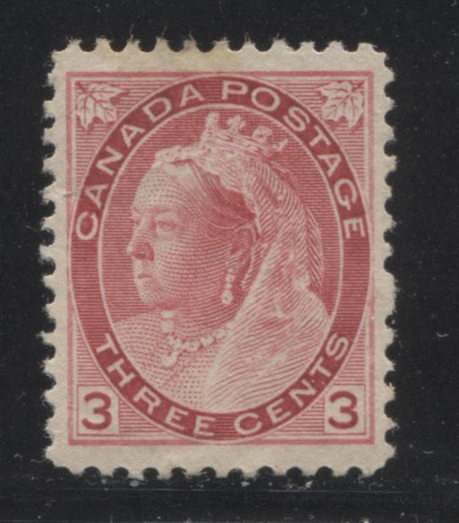 Canada #78 (SG#156) 3c Carmine Rose 1898-1902 Numeral  Issue Vertical Wove  VF-77 LH