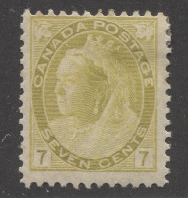 Canada #81 7c Olive Yellow Queen Victoria 1898-1902 Numeral Issue, A Fine Mint OG Example