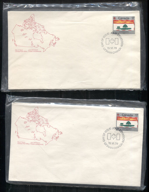 Canada #821-832 1979 Canada Day Issue, 2 Full Sets of Canada Post Official FDC's, Each Sealed and On 2 Different Types of Envelopes