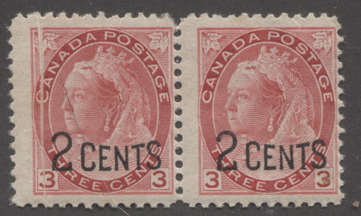 Canada #88 (SG#172) 2c on 3c Bright Carmine-Red 1899 Surcharges, A Very Good Mint Pair Showing a Spectacular Pre-Print Paper Fold Error