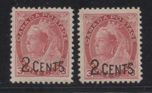 Canada #88 (SG#172) 2c on 3c Bright Carmine-Red 1899 Surcharges, Two Very Fine Mint Examples, One With Thin Letters in Surcharge and One Normal