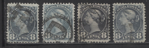 Canada #44, 44a, 44b 8c Violet Black, Blue Grey and Slate 1870-1897 Small Queen Issue, 4 Fine Used Second Ottawa Printings, Various Shades, and Perfs.