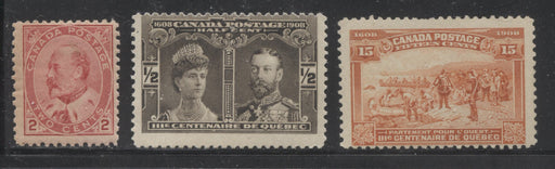 Canada #90, 96, 102 2c Carmine Rose King Edward VII - 15c Orange Champlain's Departure, 3 Very Good NH Mint Stamps