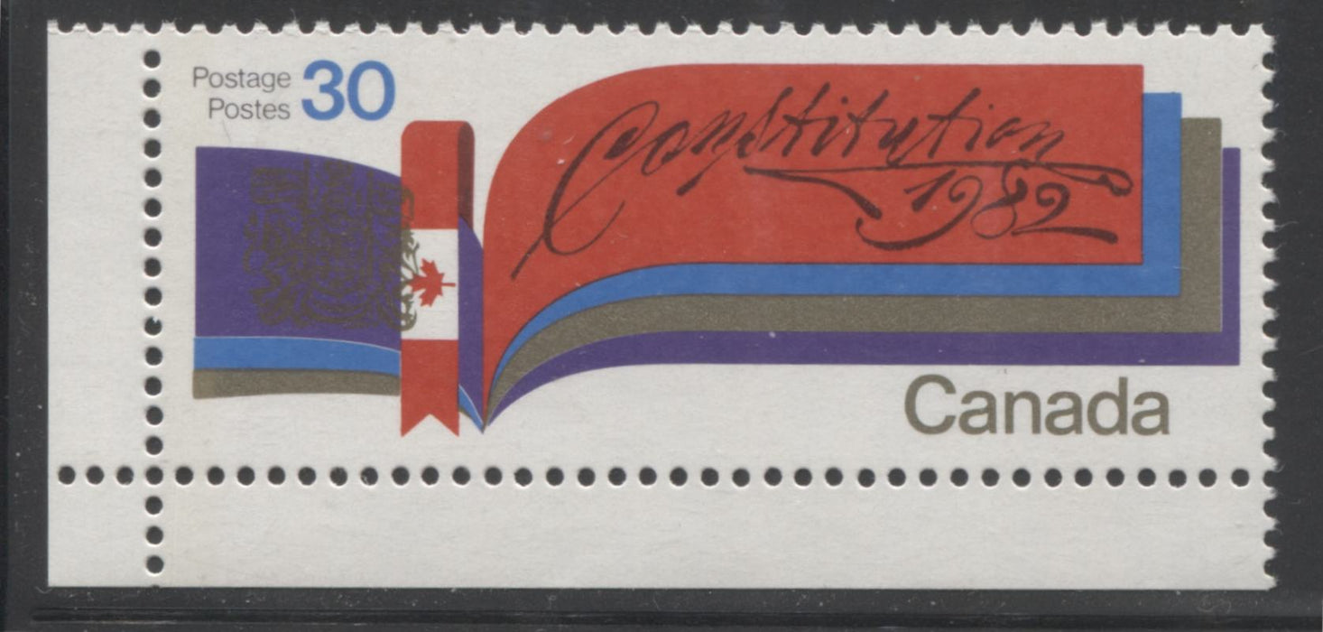Canada #916iG1aL 30c Multicoloured, 1982 Constitution Issue, A VFNH Example on LF-fl Paper, Showing 1-Bar Tag Error and Shifted Canada Arms