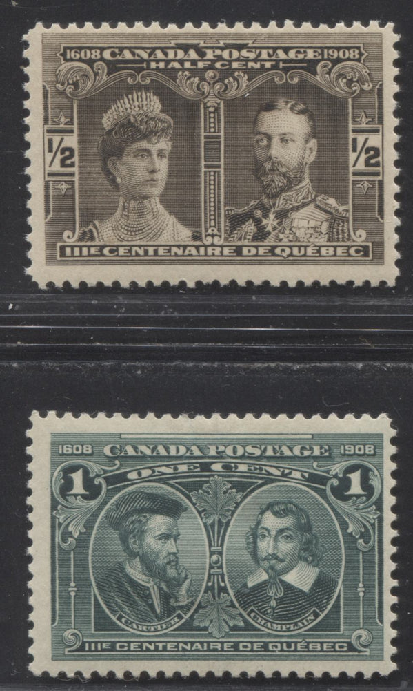 Canada #96-97 1/2c Brown Black And 1c Dark Blue Green 1908 Quebec Tercentenary Issue, Two F-OG Examples