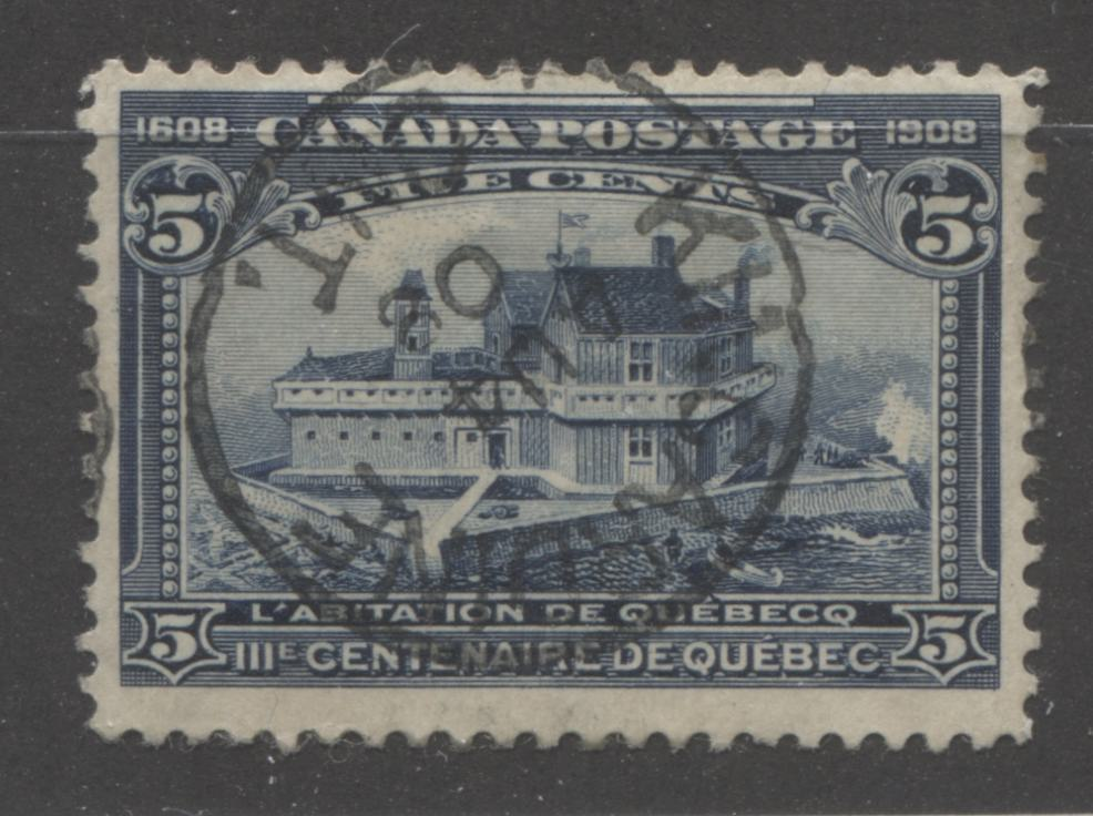 Canada #99 (SG#191) 5c Dark Blue Quebec Tercentenary A Fine CDS Used Example With SON August 4, 1908 Kincardine, ON CDS Cancel