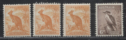 Australia #223A, 295 (SG#228, 230b) 1/2d Orange & 6d Chocolate 1949-1959 Unwatermarked Zoological Definitives, Fine and VFNH Examples of Different Papers and Shades